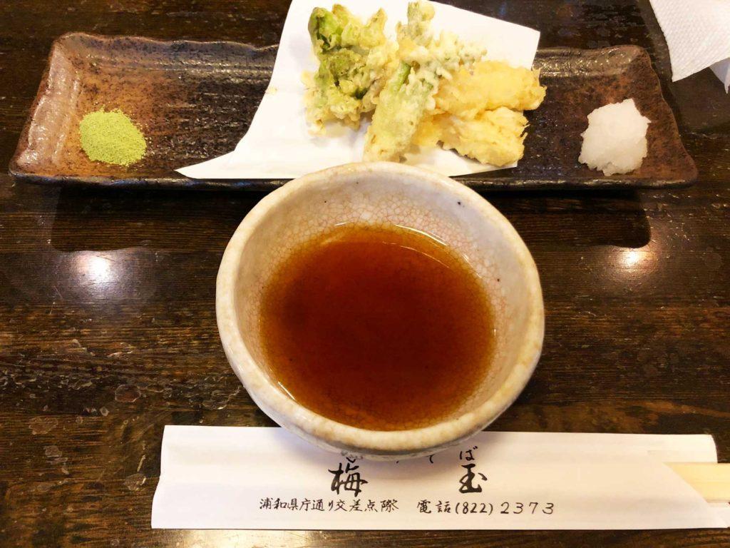 浦和の老舗蕎麦屋・梅玉の季節の天ぷら