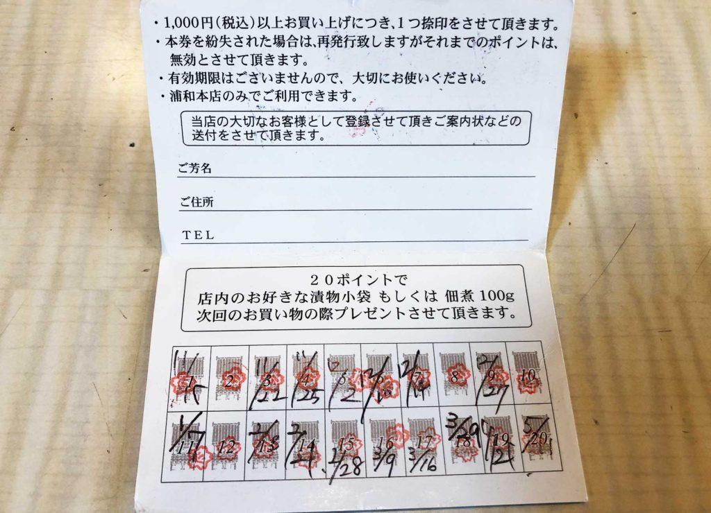 酒井甚四郎商店のポイントカード