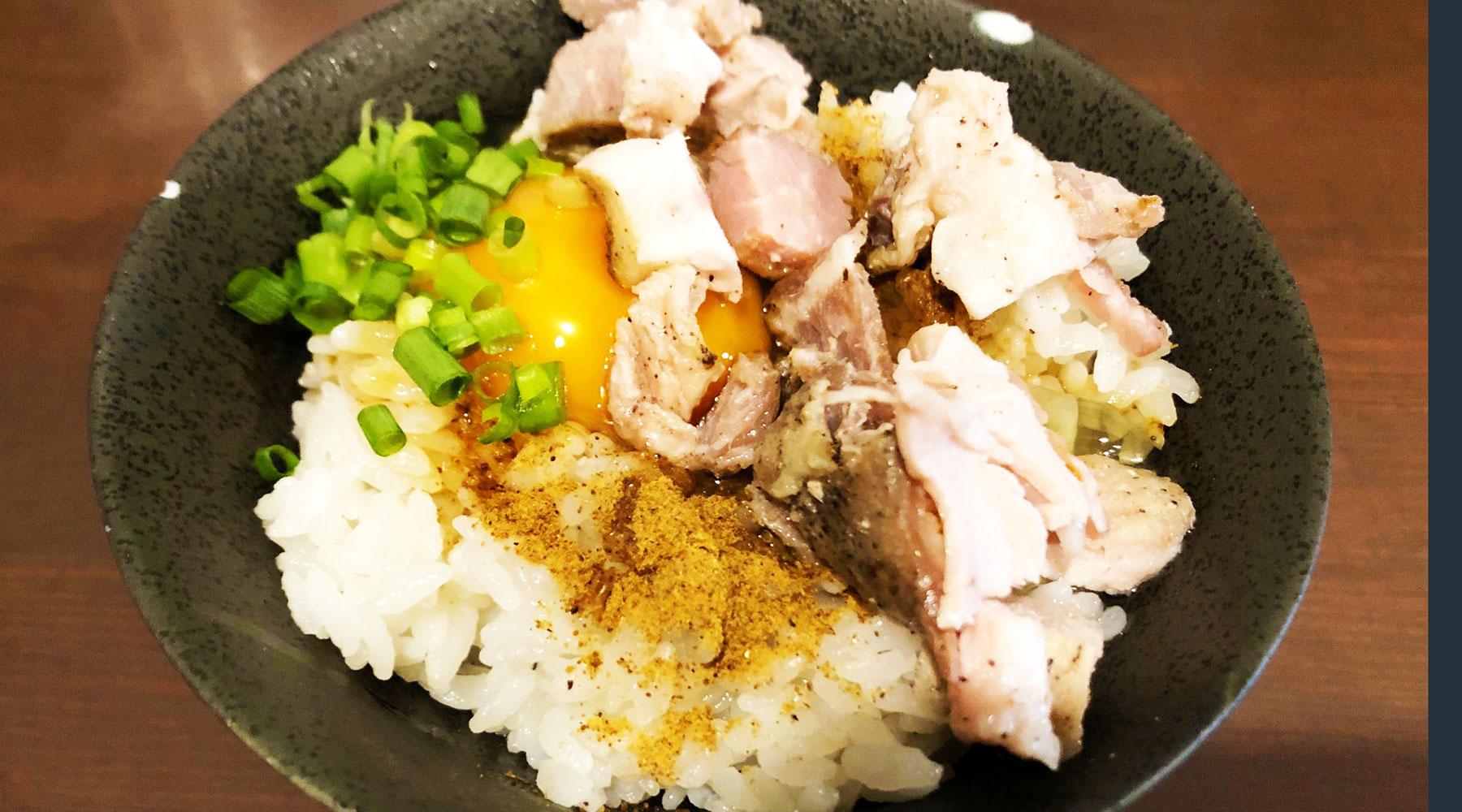 麵屋ORIGAMI・肉乗せ卵かけご飯(150円)