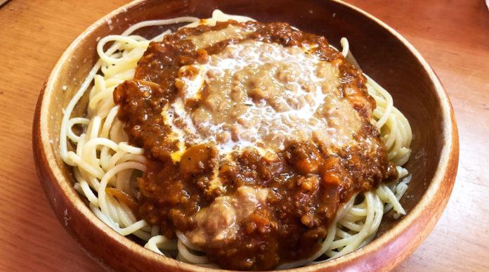 スパゲティーPINOのミートソース納豆スパゲティ